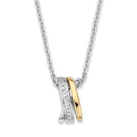 Excellent Jewelry Zilveren Ketting met Bicolor Zirkonia Hanger