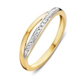 Excellent Jewelry Slanke Gouden Zirkonia Ring met Opengewerkte Voorzijde