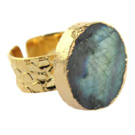 Ring met Natuurlijke Labradorite Natuursteen van Sujasa