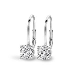 New Bling Luxe Zilveren Oorhangers met Kleurloze Facetgeslepen Zirkonia's