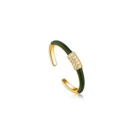 Ania Haie Bright Future Goudkleurige Ring met Groene Emaille