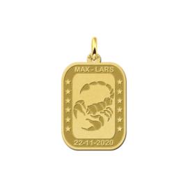 Rechthoekige Schorpioen Sterrenbeeld Hanger van Goud