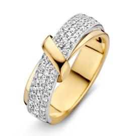Excellent Jewelry Fantasie Bicolor Ring met Diamanten