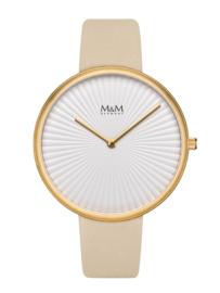 Goudkleurig M&M Dames Horloge met Crème Horlogeband