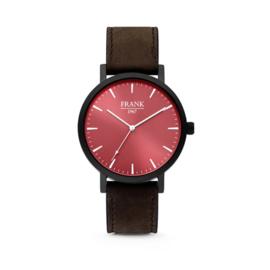 Zwart Horloge van Frank 1967 met Rode Wijzerplaat en Donkerbruine Horlogeband