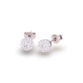 Witte Pavé Swarovski Oorstekers van Spark Jewelry