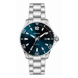 Prisma Zilverkleurig Diver Luminous Heren Horloge met Blauwe Wijzerplaat