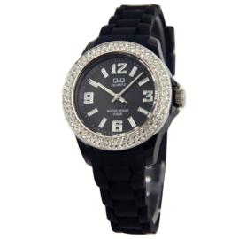 Zwart Kids Horloge van Q&Q met Zirkonia's en Zilverkleurige Rand