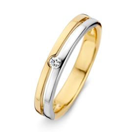 Excellent Jewelry Vlakke Gouden Ring met Witgouden Strook en Diamant