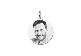 Mini Ronde Zilveren Fotogravure Hanger van Names4ever