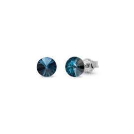 Spark Small Candy Oorknoppen met Donkerblauwe Glaskristal