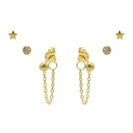 Karma Jewelry – Zesdelige Shiny Star Earparty Set - Gold