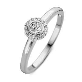 Excellent Jewelry Witgouden Ring met Diamanten Kopstuk