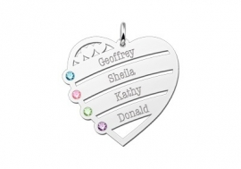 Zilveren Hart Kroon met Geboortesteen en namen Names4ever