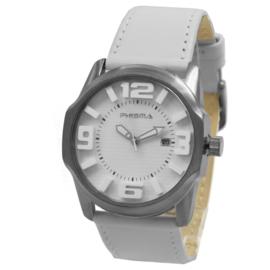 Prisma Basic Rond Dames Horloge met Witte Lederen Horlogeband