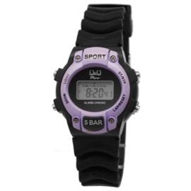 Q&Q Modern Digitaal Kids Horloge Zwart met Paars