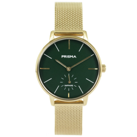Prisma Goudkleurig Dames Horloge met Milanese Horlogeband