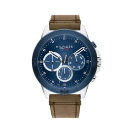 Tommy Hilfiger Heren Horloge met Blauwe Bezel en Bruin Leer