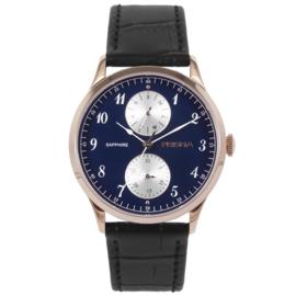 Roségoudkleurig Edelstalen Heren Horloge met Blauwe Wijzerplaat en Bruine Horlogeband