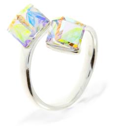Zilveren Ring met Dubbele Swarovski Kubus van Spark
