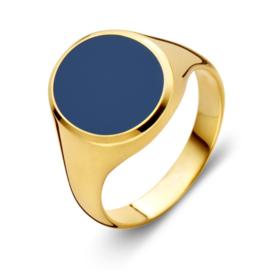 Excellent Jewelry Geelgouden Zegelring met Blauwe Lagensteen