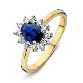 Excellent Jewelry Geelgouden Ring met Witgouden Kopstuk met Saffier