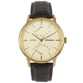 Robuust Goudkleurig Prisma Heren Horloge met Donkerbruine Horlogeband