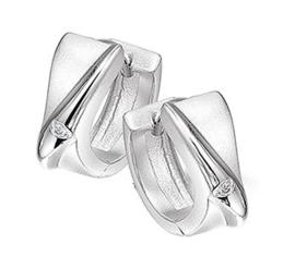 Fantasie Klapcreolen van Zilver met Diamant