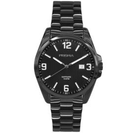Prisma Edelstalen Heren Horloge met Zwarte Schakelband