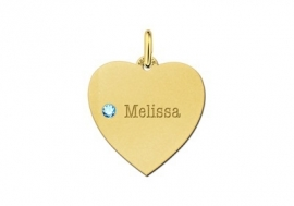 Gouden hart hanger met geboortesteen Names4ever