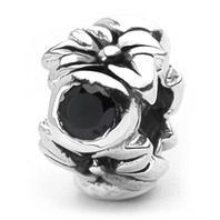 SimStars bedel bloem met zwarte zirkonia`s steentjes E3076
