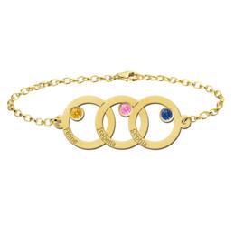 Driedubbele Cirkel Gouden Moeder en Dochter Armband > Names4ever