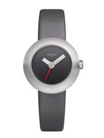Zilverkleurige M&M Dames Horloge met Grijze Lederen Horlogeband