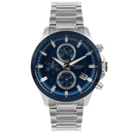 Prisma Zilverkleurig Gents Heren Horloge met Blauwe Wijzerplaat