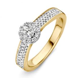 Excellent Jewelry Brede Gouden Ring met Rond Diamant Plaatje