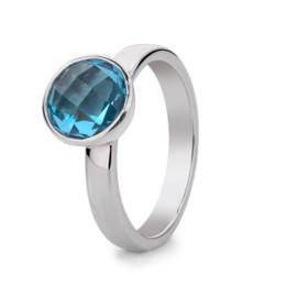 Excellent Jewelry Zilveren Ring met Blauwe Topaas