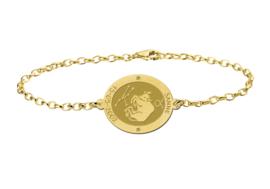 Gouden Armband met Ovaalvormige Stier Sterrenbeeld Naamhanger > Names4ever