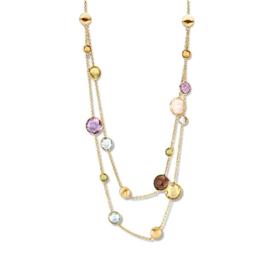 Excellent Jewelry Gouden Collier met Gekleurde Edelstenen
