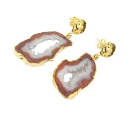 Oorbellen met Oranje Geode Druzy Edelsteen van Sujasa