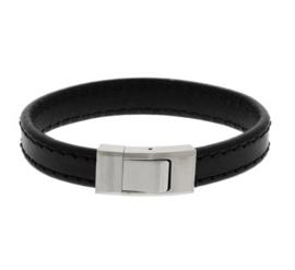 Zwart Lederen Armband met Zwart Stiksel en Edelstalen Sluiting