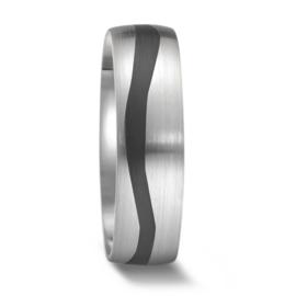 Robuuste Heren Trouwring van Zilver met Carbon