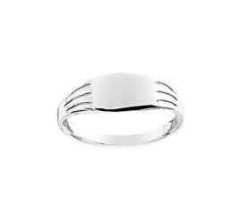 Vlakke Zilveren Ring met Rechthoekig Kopstuk