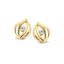 Excellent Jewelry Opengewerkte Geelgouden Oorstekers met Zirkonia