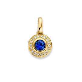 Excellent Jewelry Geelgouden Hanger met Saffier en Diamanten