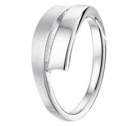 Slanke Vlakke Ring van Mat met Gepolijst Gerhodineerd Zilver