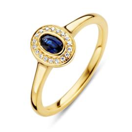 Excellent Jewelry Geelgouden Ring met Diamanten en Saffier
