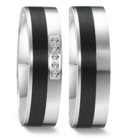 Vlakke Zilveren Trouwringen Set met Carbon en Diamanten