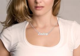 Names4ever Lindsey Stijl Zilveren Naamketting