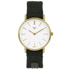Prisma Goudkleurig Slimline Dames Horloge met Groene Nylon Band