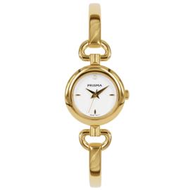 Prisma Goudkleurig Abstract Dames Horloge met Witte Wijzerplaat